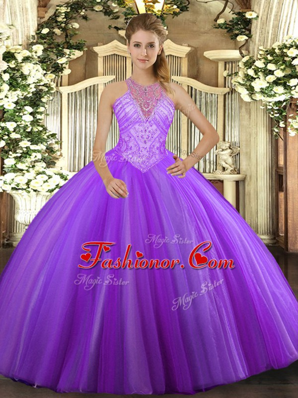 High End Floor Length Lace Up Quinceanera Gown Lavender for Military ...