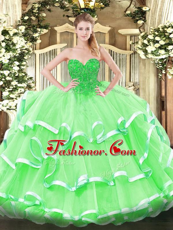Floor Length Ball Gowns Sleeveless Apple Green Sweet 16 Dress Lace ...