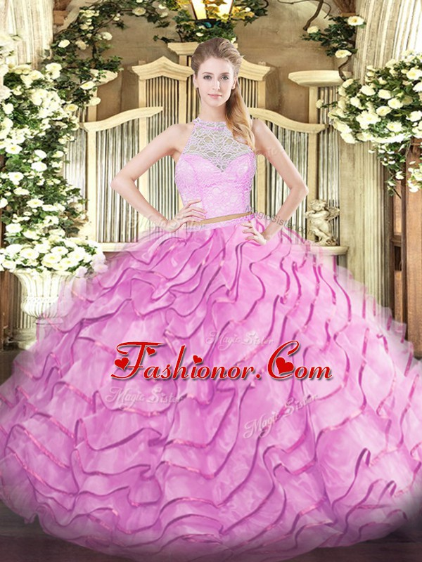 Rose Pink Two Pieces Lace and Ruffled Layers Sweet 16 Dresses Zipper Tulle Sleeveless