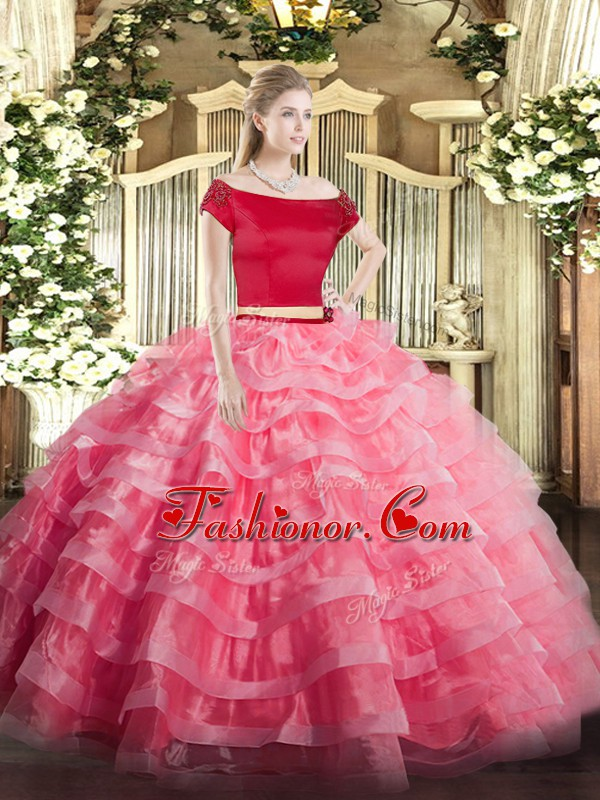 Beauteous Watermelon Red Two Pieces Tulle Off The Shoulder Short Sleeves Appliques and Ruffled Layers Floor Length Zipper Sweet 16 Quinceanera Dress