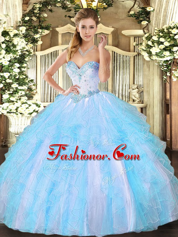 High End Sleeveless Tulle Floor Length Lace Up 15th Birthday Dress in Aqua Blue with Beading and Ruffles