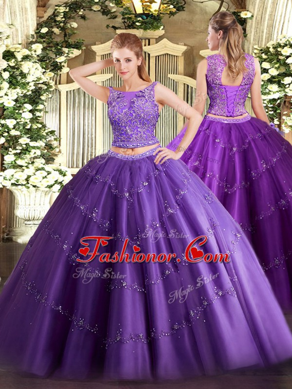 Inexpensive Purple Two Pieces Beading and Appliques 15 Quinceanera ...