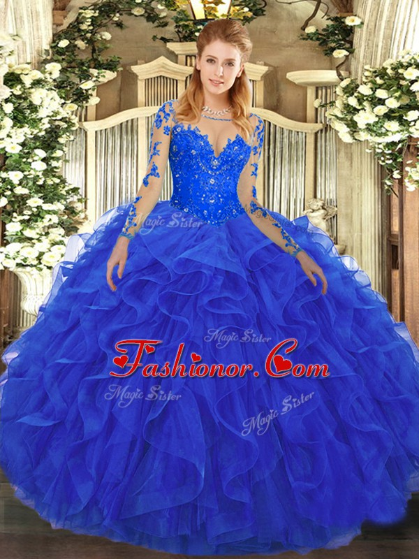 Beautiful Tulle Scoop Long Sleeves Lace Up Lace and Ruffles Ball ...