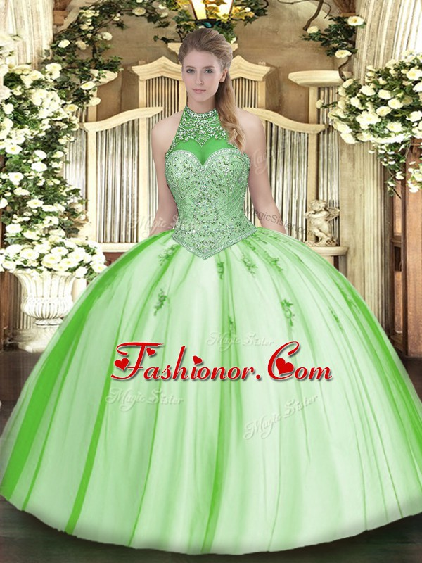 Super Ball Gowns Quinceanera Dresses Halter Top Tulle Sleeveless ...