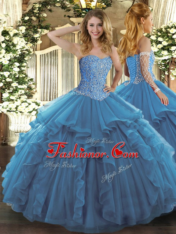 High End Sleeveless Floor Length Beading and Ruffles Lace Up ...