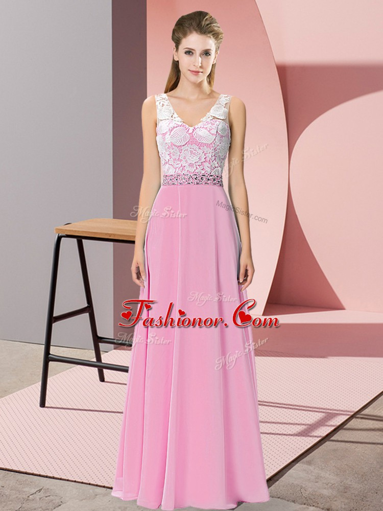 Sleeveless Chiffon and Lace Floor Length Backless Prom Evening Gown ...