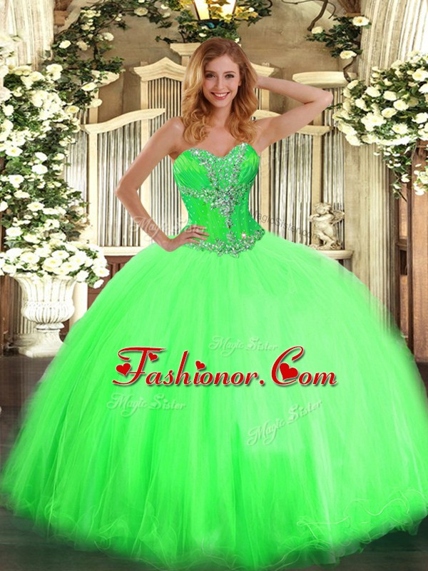 On Sale Ball Gowns Sweetheart Sleeveless Tulle Floor Length Lace Up ...