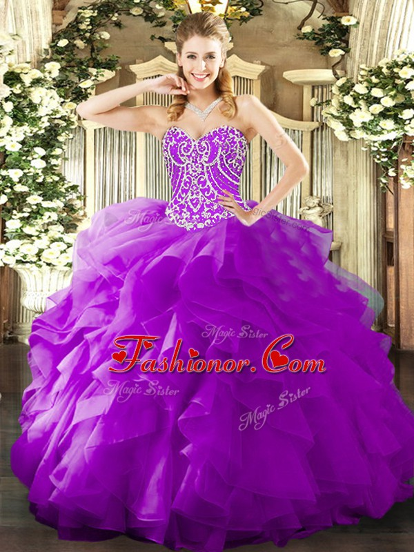 High End Purple Lace Up Sweetheart Beading and Ruffles Quinceanera ...
