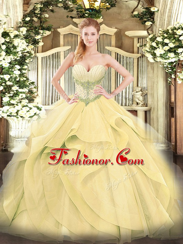 High End Gold Tulle Lace Up Quince Ball Gowns Sleeveless Floor ...