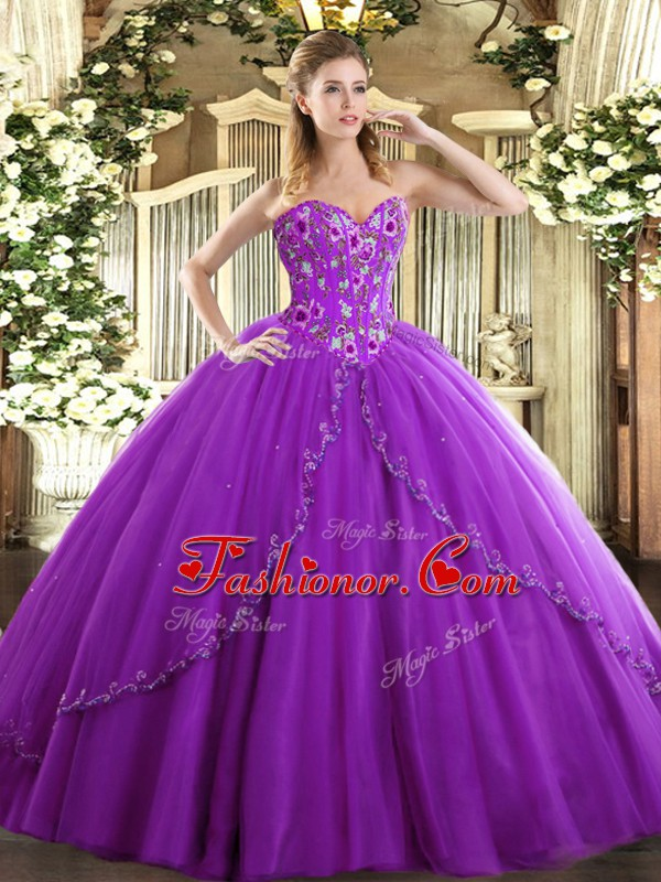 Cheap Lace Up Ball Gown Prom Dress Eggplant Purple for Sweet 16 and ...