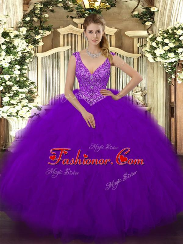 Floor Length Ball Gowns Sleeveless Purple Quinceanera Dress Zipper ...