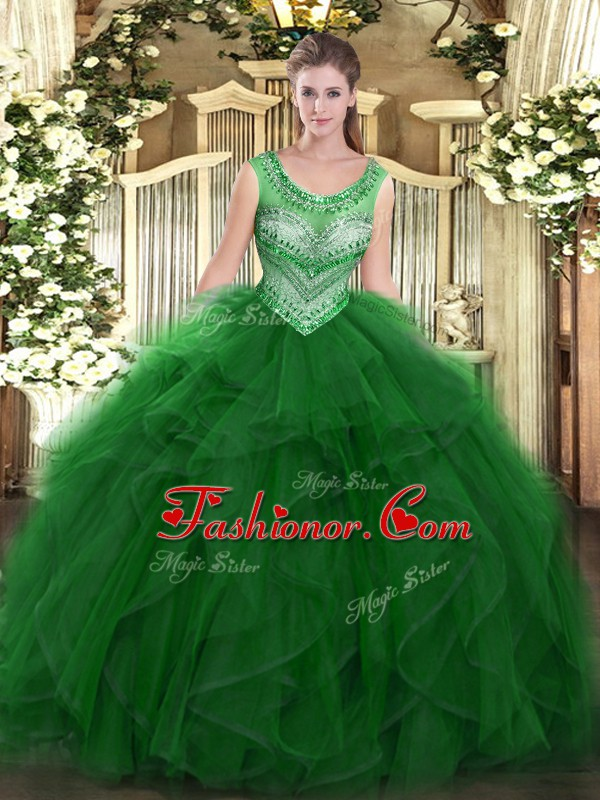Hot Sale Scoop Sleeveless Sweet 16 Dresses Floor Length Beading and Ruffles Green Organza