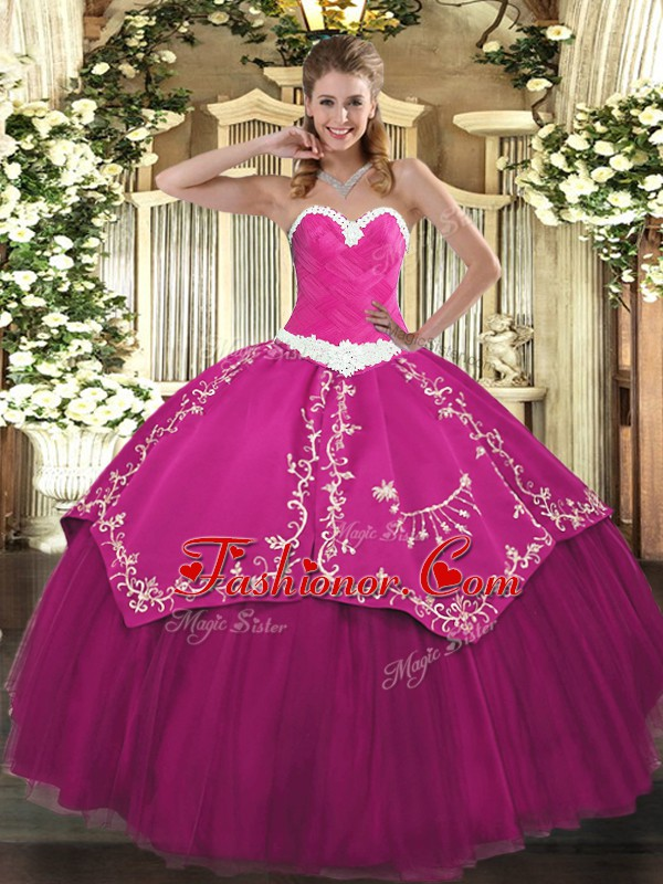 Custom Design Fuchsia Lace Up Quinceanera Gown Appliques and Embroidery Sleeveless Floor Length