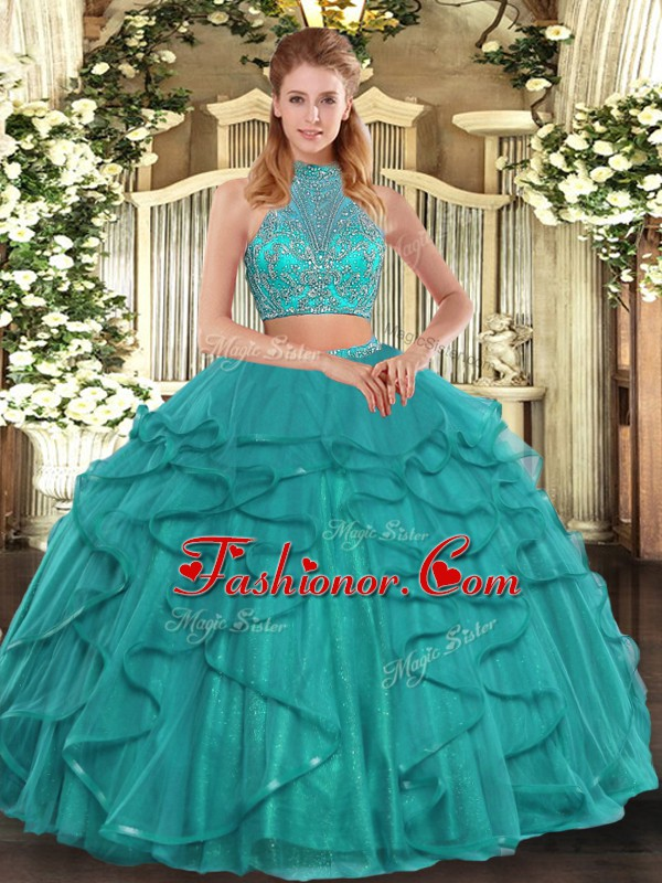 High Class Sleeveless Tulle Floor Length Criss Cross Vestidos de Quinceanera in Turquoise with Beading and Ruffled Layers
