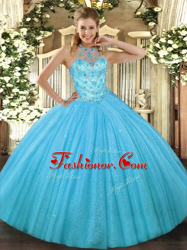 Low Price Aqua Blue Tulle Lace Up Halter Top Sleeveless Floor Length ...