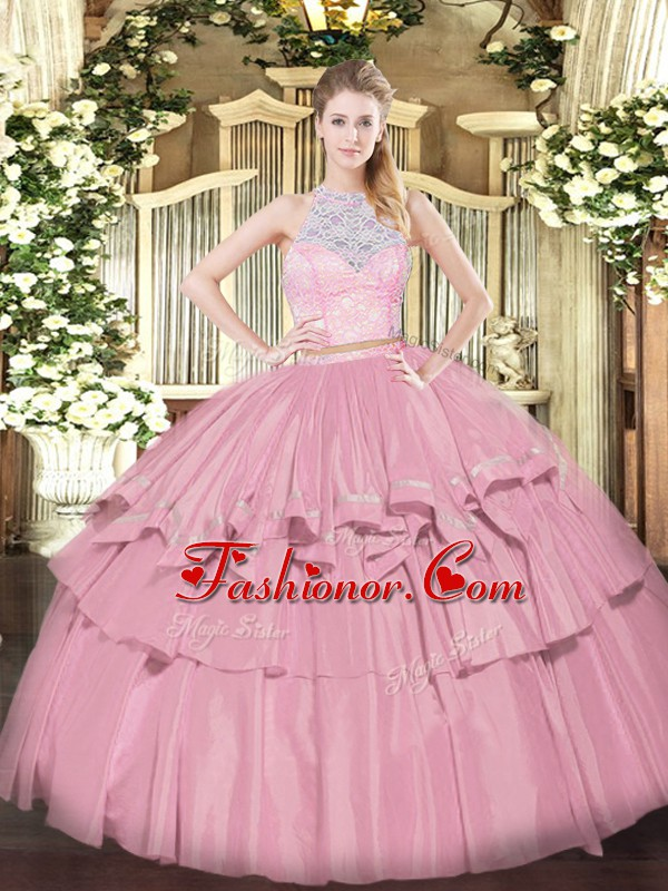 Best Baby Pink Zipper Ball Gown Prom Dress Lace and Ruffled Layers ...