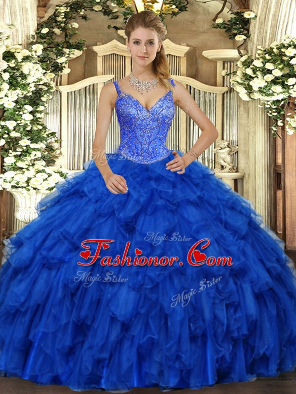 Spectacular Royal Blue Sleeveless Beading and Ruffles Floor Length Quince Ball Gowns