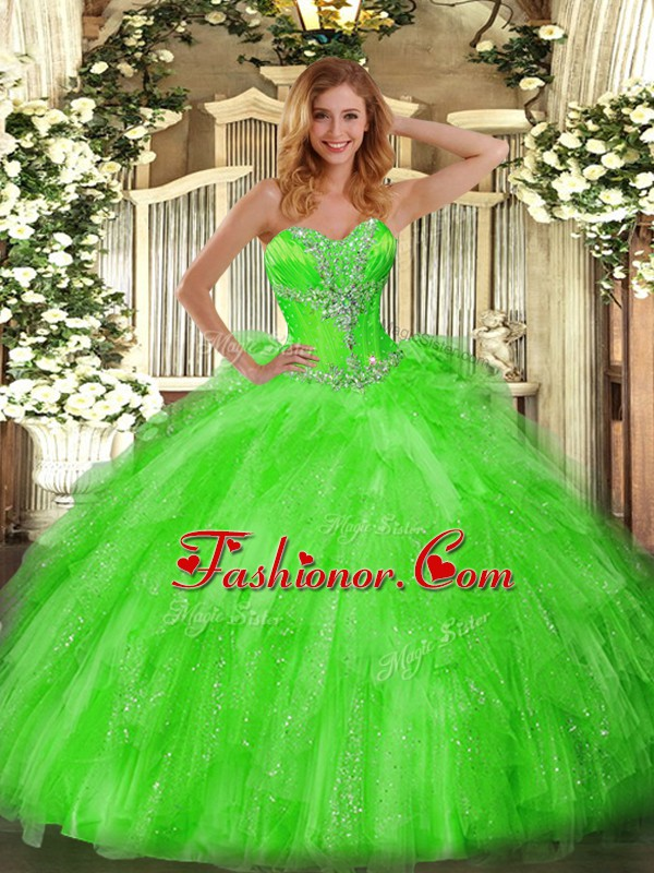 Lace Up Quinceanera Dresses Beading and Ruffles Sleeveless Floor Length