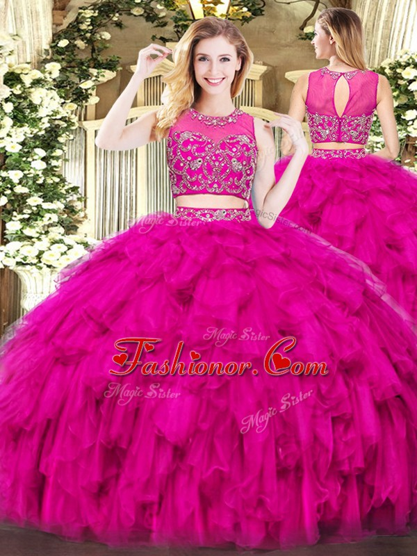 Fine Fuchsia Scoop Zipper Beading and Ruffles Sweet 16 Dresses Sleeveless