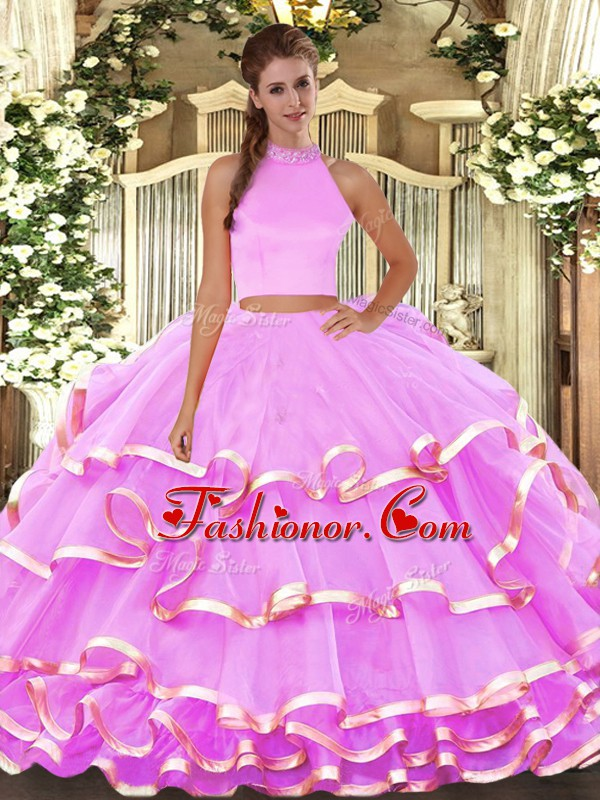 Hot Sale Sleeveless Organza Floor Length Backless Quinceanera Gown in Lilac with Beading and Ruffled Layers