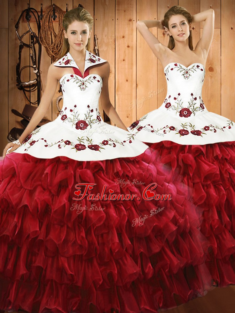 Organza Halter Top Sleeveless Lace Up Embroidery and Ruffled Layers Quinceanera Dresses in Wine Red