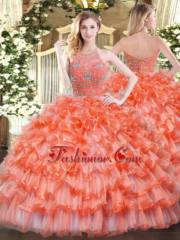 Sleeveless Beading and Ruffled Layers Zipper Sweet 16 Quinceanera Dress