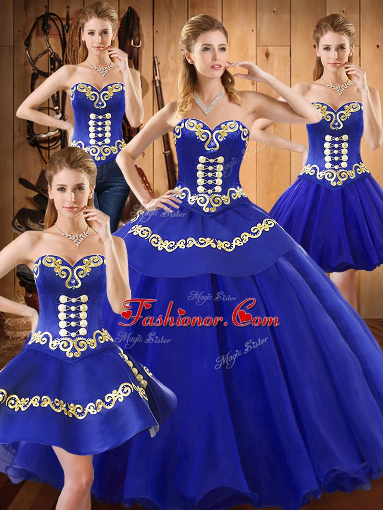 Blue Sleeveless Floor Length Embroidery Lace Up Ball Gown Prom Dress