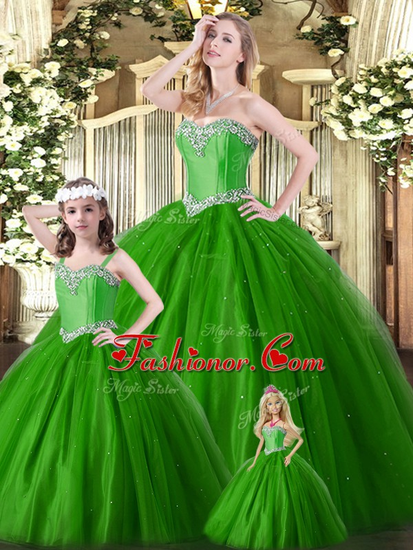 Sleeveless Beading Lace Up Vestidos de Quinceanera