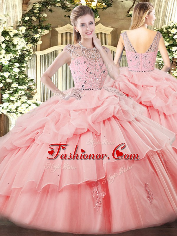 Elegant Baby Pink Bateau Neckline Beading and Ruffles and Pick Ups Quinceanera Gown Sleeveless Zipper