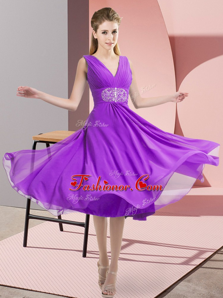 Admirable Knee Length Side Zipper Quinceanera Dama Dress Purple for Prom and Party and Wedding Party with Beading