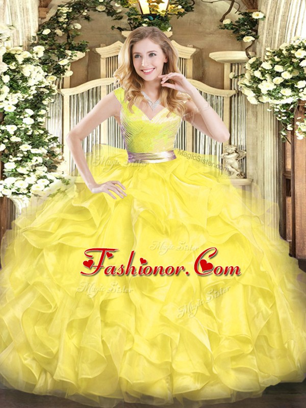 Most Popular V-neck Sleeveless Zipper 15 Quinceanera Dress Yellow Tulle