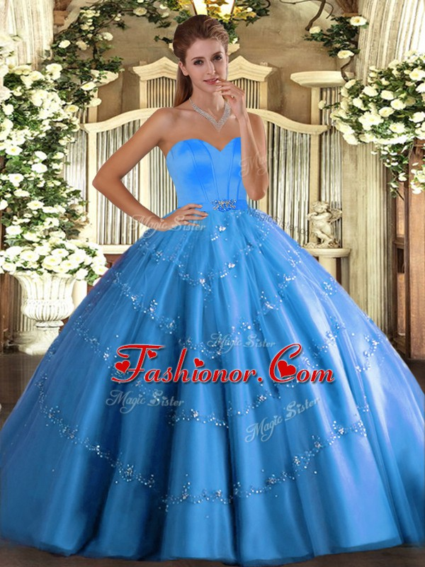 Tulle Sweetheart Sleeveless Lace Up Beading and Appliques Vestidos de Quinceanera in Baby Blue