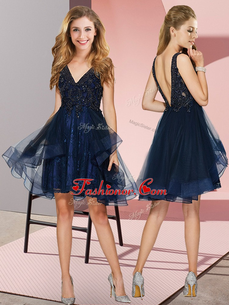 V-neck Sleeveless Backless Quinceanera Court of Honor Dress Navy Blue Tulle