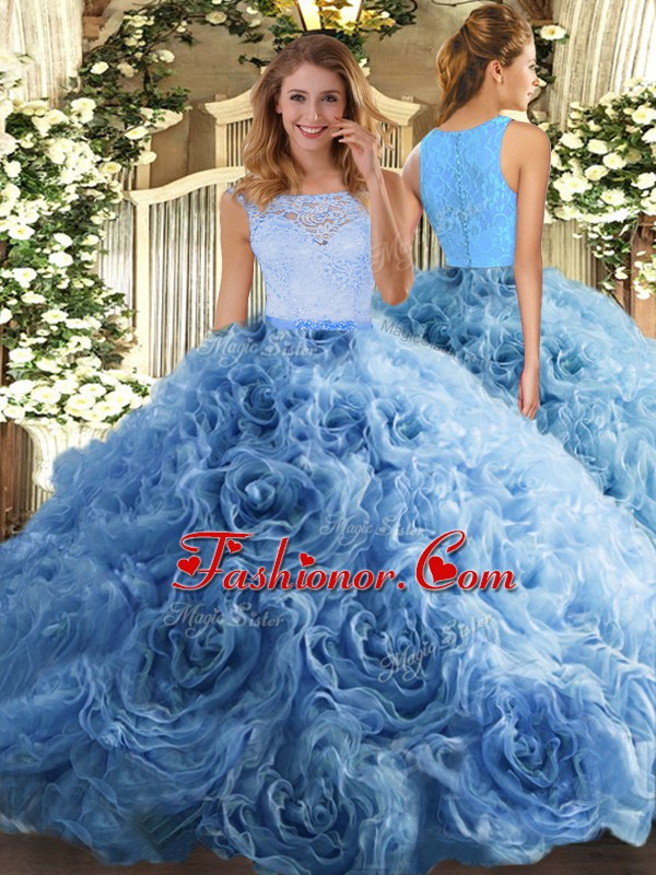 Extravagant Baby Blue Ball Gowns Beading and Ruffles Quinceanera Dress Zipper Fabric With Rolling Flowers Sleeveless Floor Length