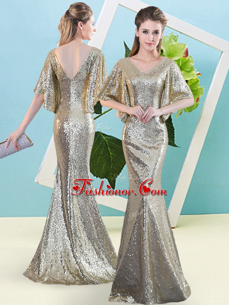 Sequined V-neck Half Sleeves Zipper Sequins Prom Gown in Silver