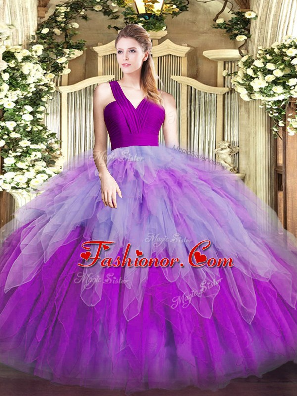 Floor Length Ball Gowns Sleeveless Multi-color Vestidos de Quinceanera Zipper