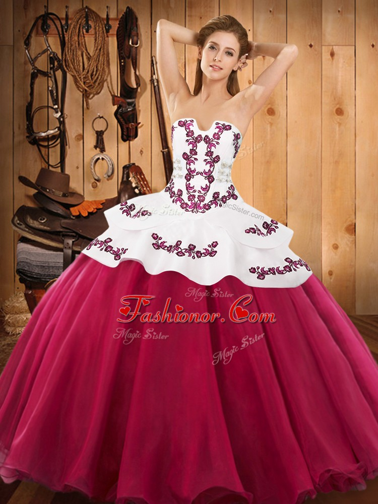 Satin and Organza Strapless Sleeveless Lace Up Embroidery 15th Birthday Dress in Hot Pink