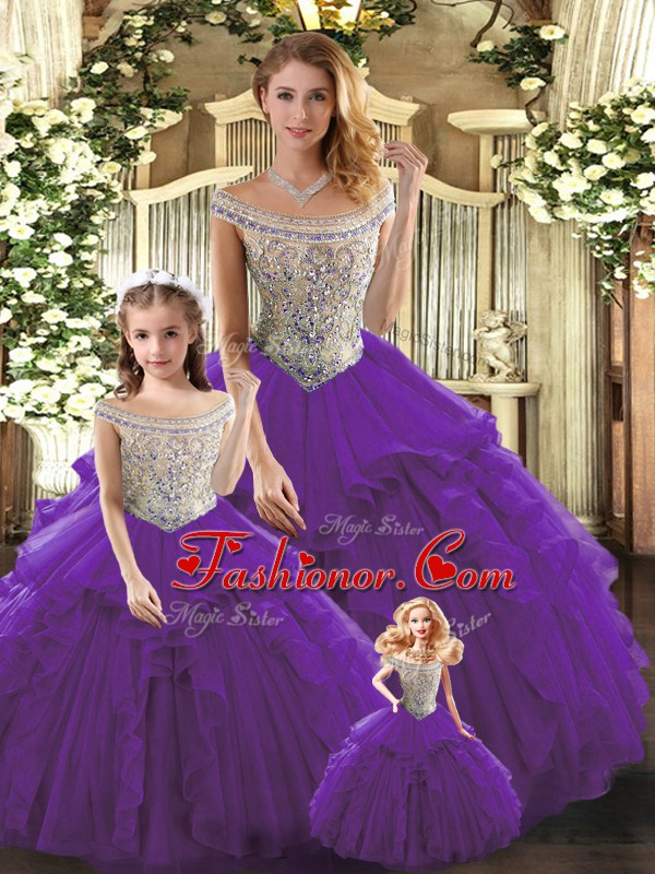Bateau Sleeveless Tulle Quinceanera Dress Beading and Ruffles Lace Up