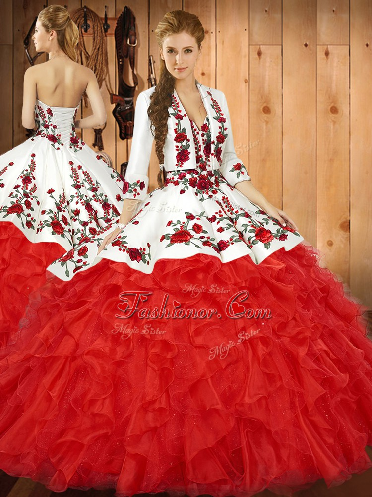 Free and Easy Sleeveless Tulle Floor Length Lace Up 15th Birthday Dress in Red with Embroidery and Ruffles