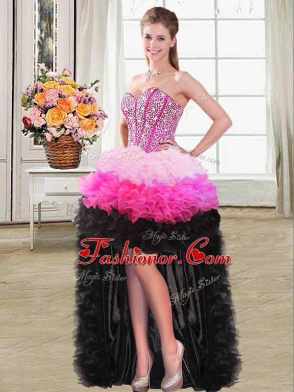 Sweetheart Sleeveless Prom Gown High Low Beading and Ruffles Multi-color Organza