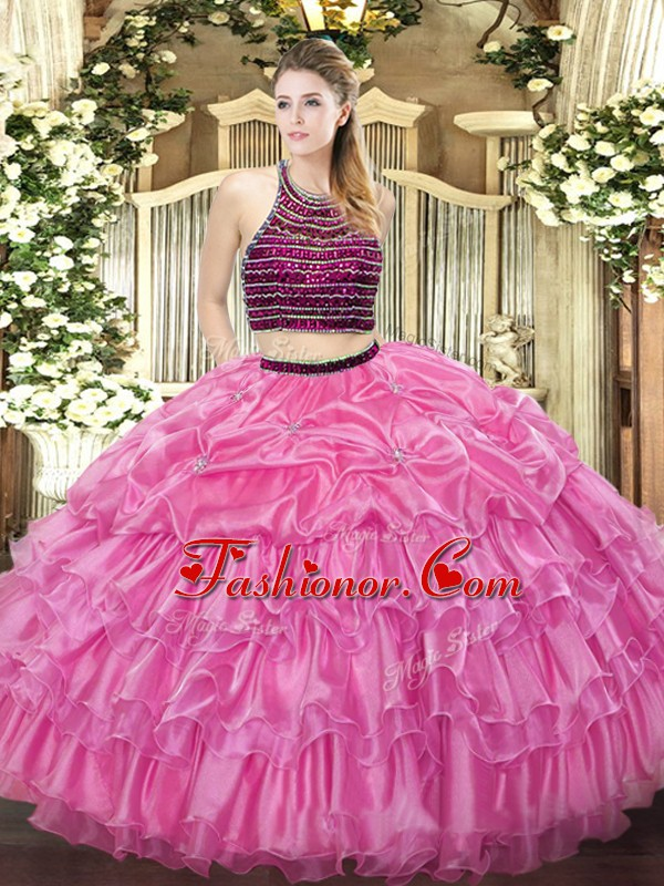 Rose Pink Sleeveless Beading and Ruffled Layers Floor Length Sweet 16 Dresses