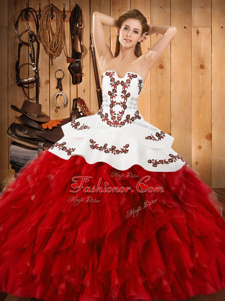 Strapless Sleeveless Lace Up Sweet 16 Quinceanera Dress Wine Red Satin and Organza