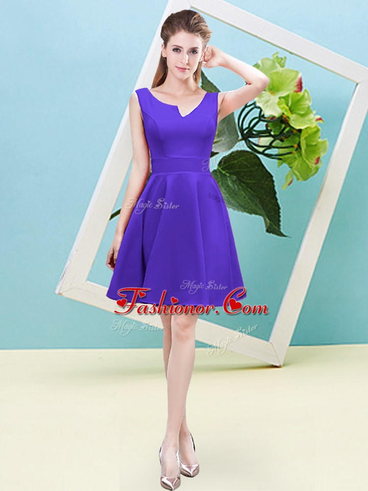 Sweet Purple Sleeveless Mini Length Ruching Zipper Dama Dress for Quinceanera