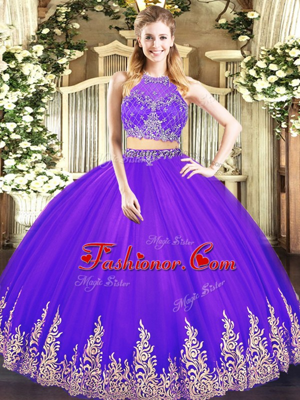 Fine Floor Length Purple 15 Quinceanera Dress Tulle Sleeveless Beading and Appliques