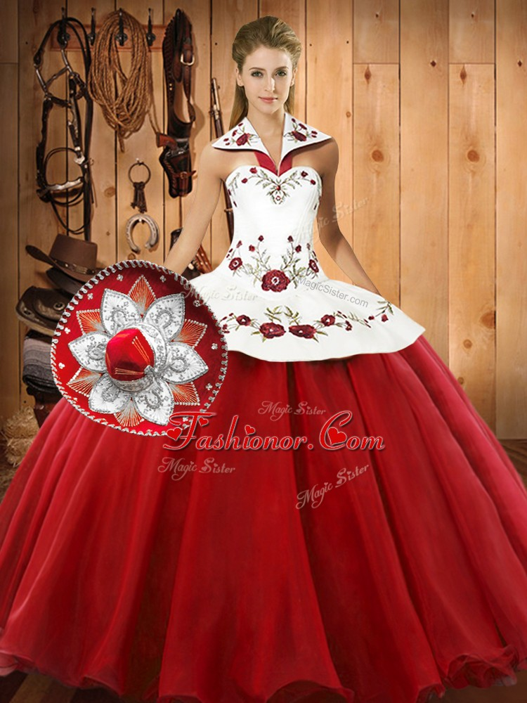 Floor Length Lace Up 15th Birthday Dress Wine Red for Military Ball and Sweet 16 and Quinceanera with Embroidery