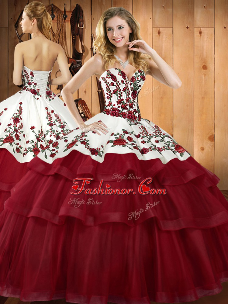 Decent Wine Red Lace Up Sweetheart Embroidery Quinceanera Gown Organza Sleeveless Sweep Train
