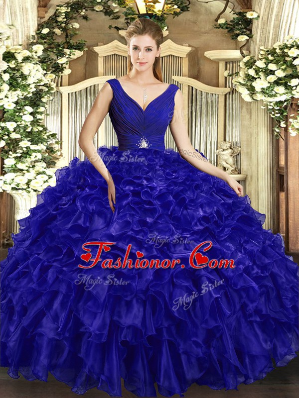 Royal Blue Sweet 16 Dress Sweet 16 and Quinceanera with Beading and Ruffles V-neck Sleeveless Backless