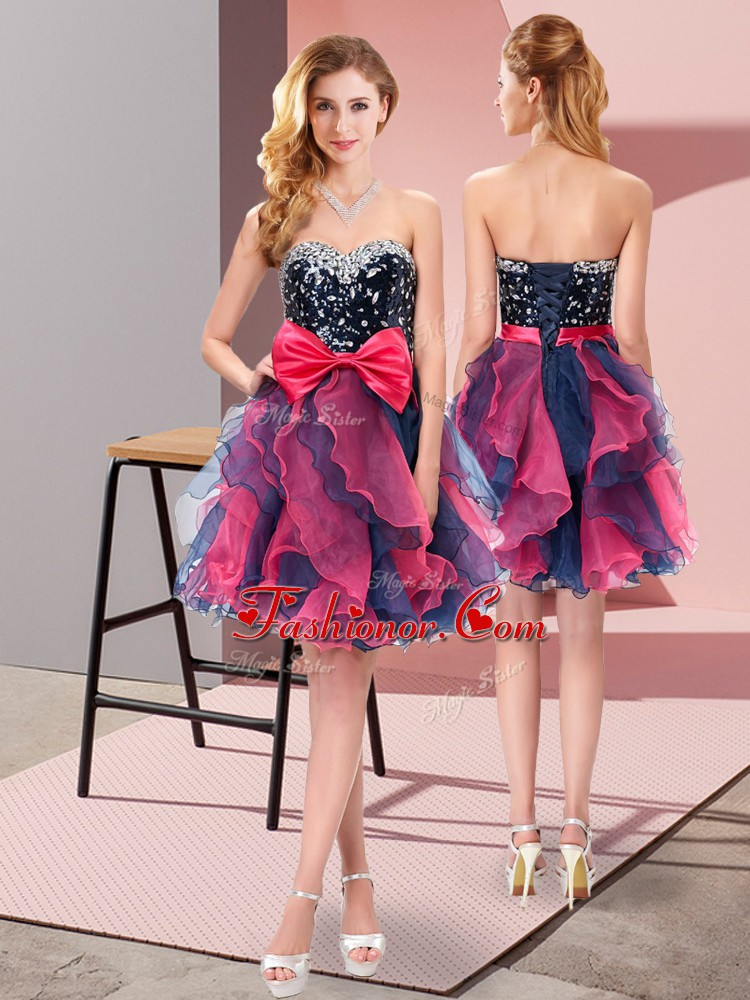 Best Selling Multi-color Sleeveless Beading and Ruffles and Bowknot Mini Length Court Dresses for Sweet 16