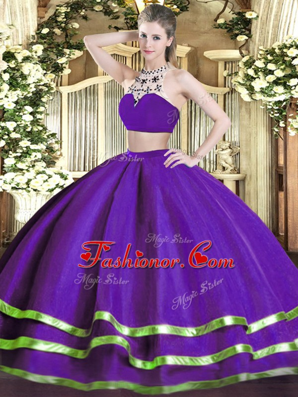 Custom Designed Purple Sleeveless Tulle Backless Quince Ball Gowns for Military Ball and Sweet 16 and Quinceanera