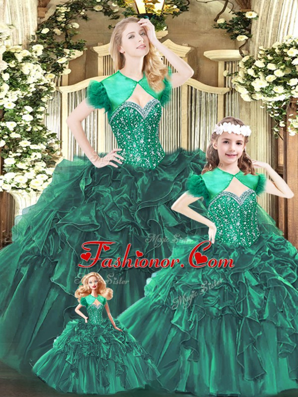 Sleeveless Organza Floor Length Lace Up Sweet 16 Dresses in Green with Beading and Ruffles